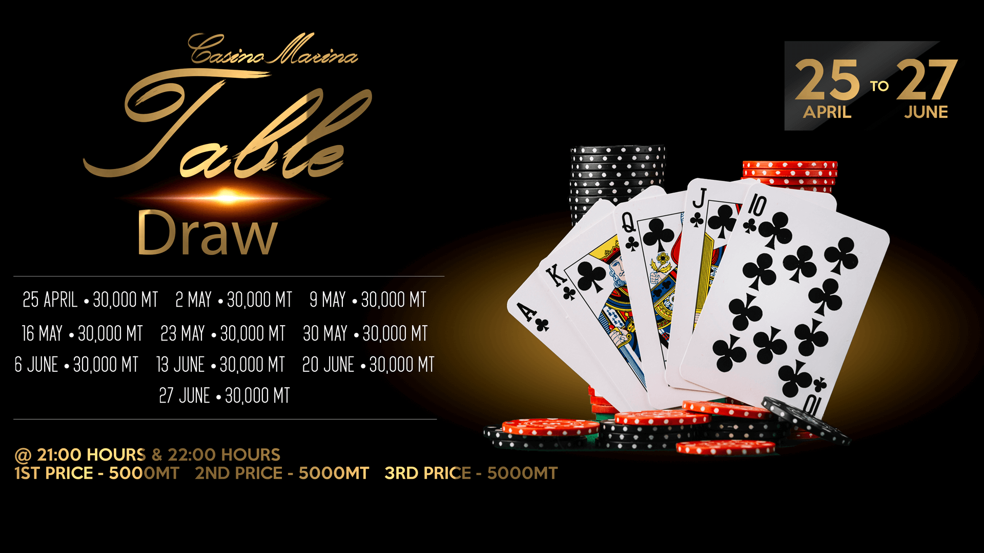 Casino Marina Table Grand draw